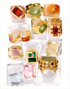 Photo of Still life jewelry photography – rings in blocks of ice.  Still life photography…
