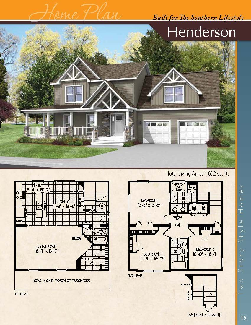 The Henderson A Two Story Home Craftsman House Plans Floor Plans Modular Homes