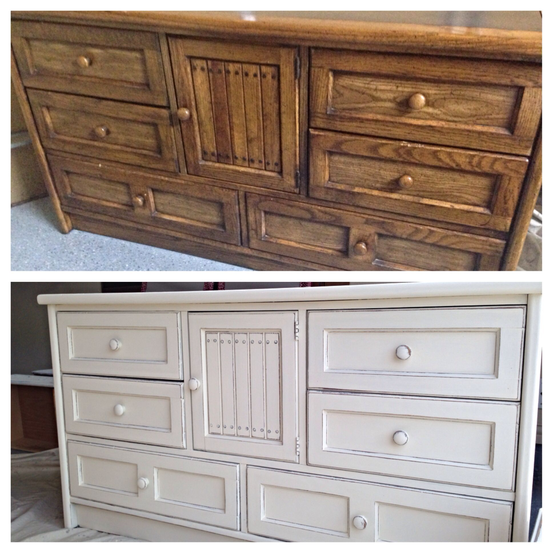 Before And After. Annie Sloan Old White