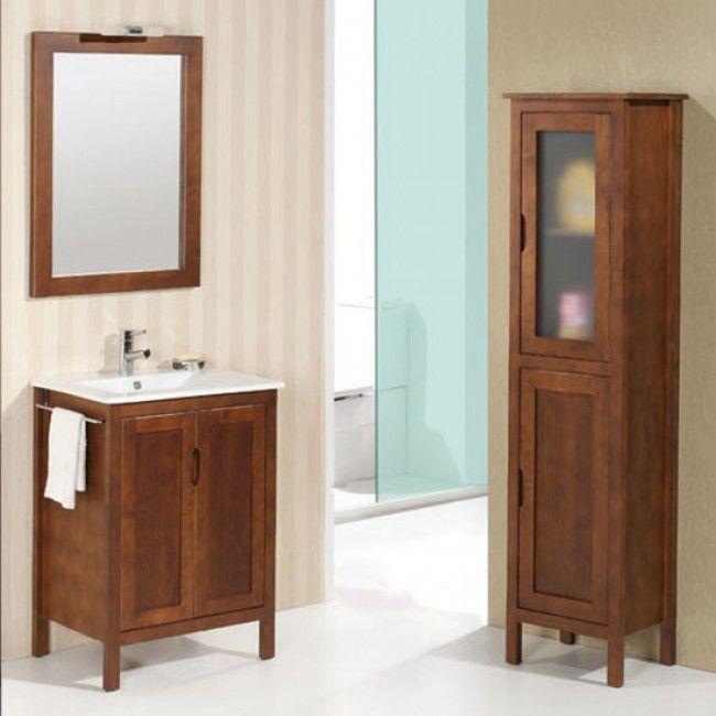 Mueble de baño rústico ZAMORA con patas 60 cm nogal con LAVABO 9523 - lavabos rusticos