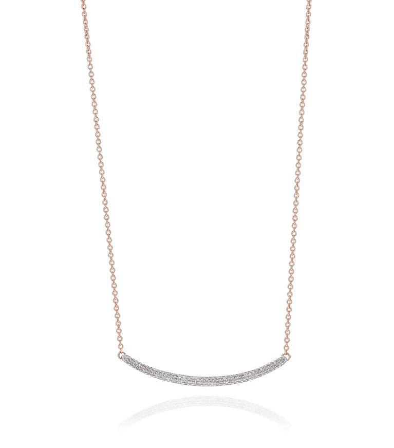 Rose Gold Skinny Curve Necklace Blue Diamond Monica Vinader aavBf
