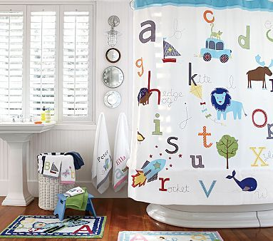 I Love The ABC Shower Curtain On Potterybarnkids