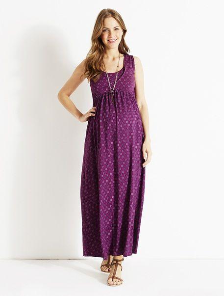 Langes Jerseykleid für die Schwangerschaft VIOLETT BEDRUCKT ...
