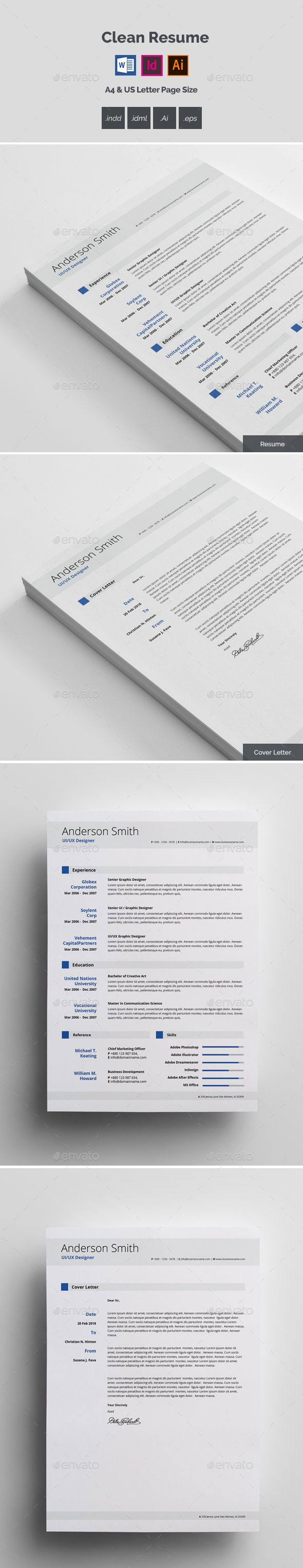 Resume Text Size Clean Resume Template Vector Eps Indesign Indd Ai Illustrator Ms .