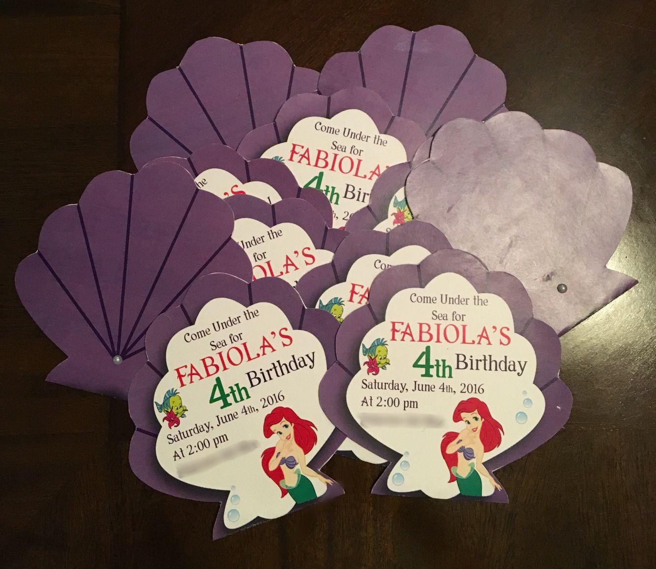 Little Mermaid Invitations Cumpleaños De Sirena Ariel La