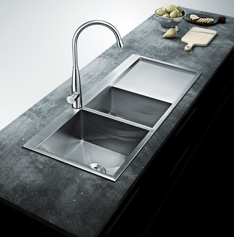 Bai 1235 48 Handmade Stainless Steel Kitchen Sink Double Bowl With Drainboard Top Mount 16 Gauge