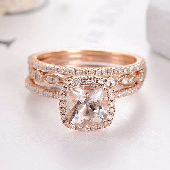 art deco morganite bridal set cushion cut rose gold wedding ring set marquise antique diamond eternity band stacking dainty halo pave 3pcs - Morganite Wedding Ring Set