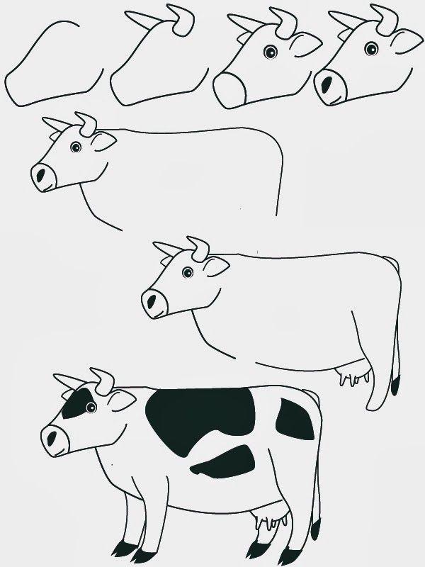 Sosyal Tavuk Inek Nasıl çizilir çizim Teknikleri Draw Cow
