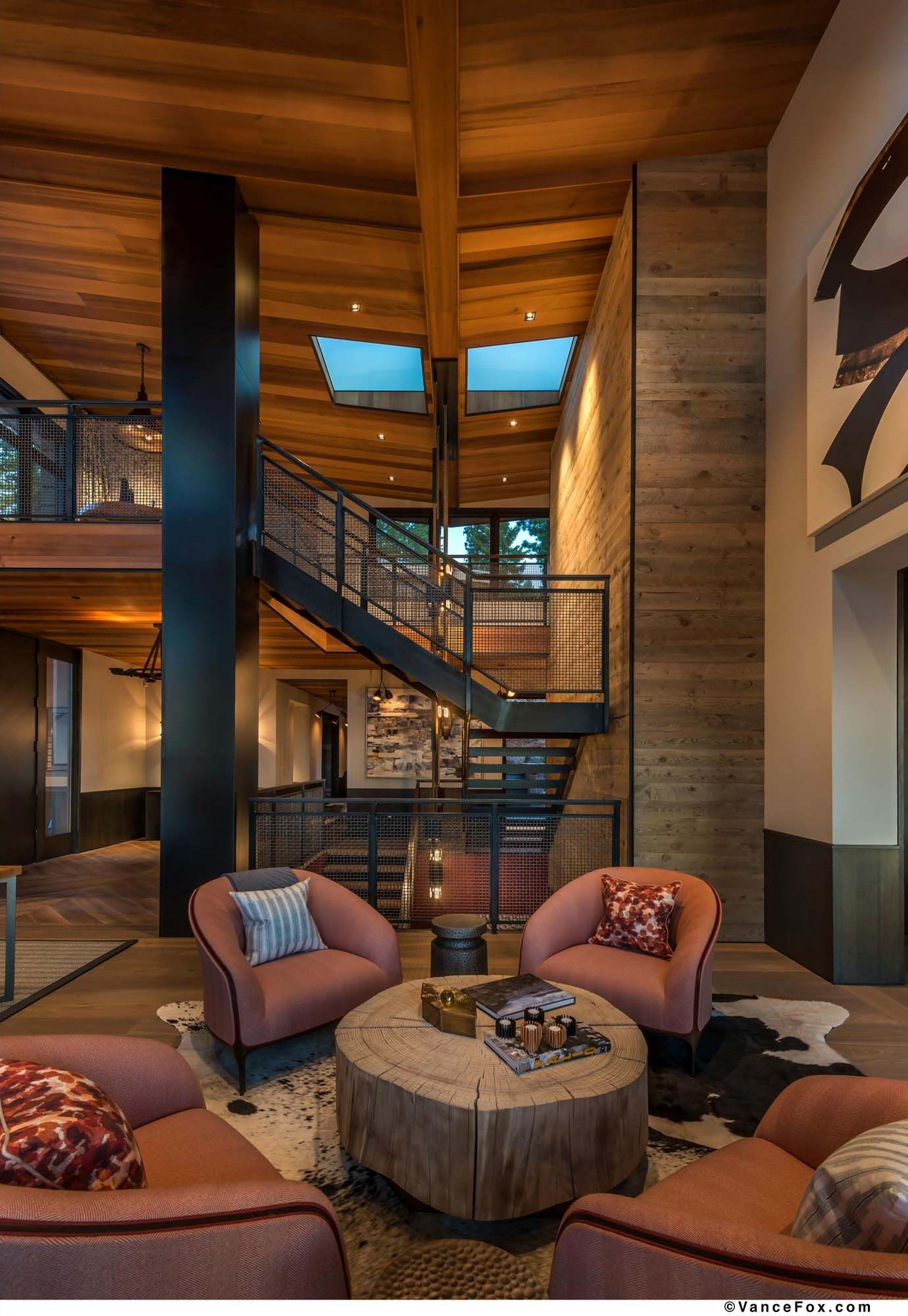 Mountain Home Living Room With Staircase