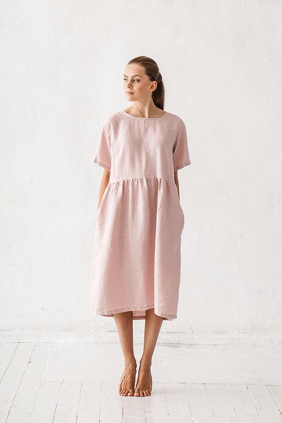 e6d1c15db89 Simple linen dress  Maxi dress  Summer dress  Everyday dress  Shift ...