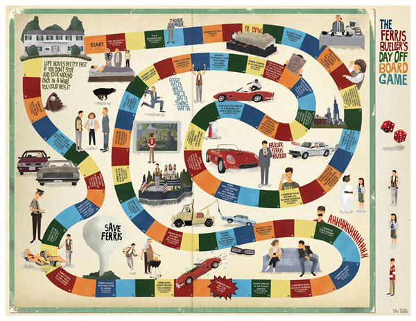love the Ferris Bueller's Day Off board game poster. I would definitely play.