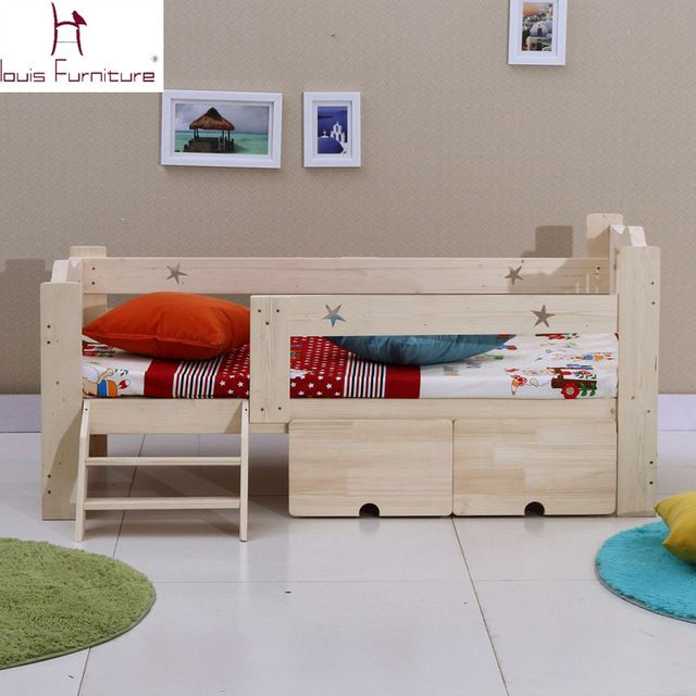 Wooden Children Bed Baby Cot With Guardrail Detskaya Krovatka