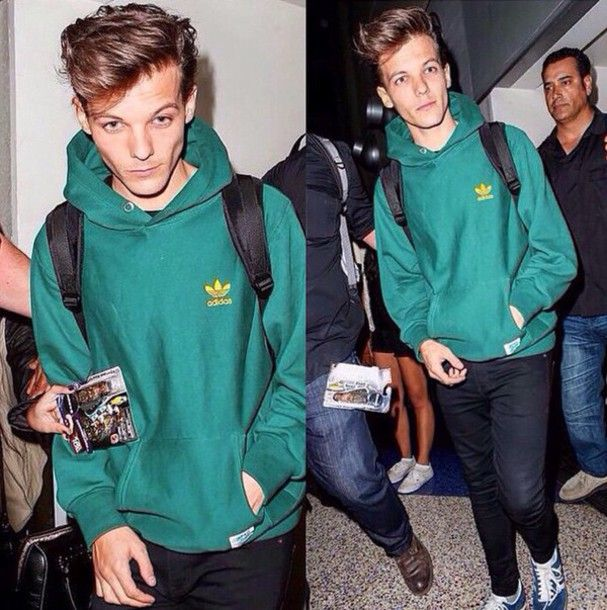 top green adidas louis tomlinson hoodie coat sweatshirt dark green yellow mens hoodie one direction menswear sweater