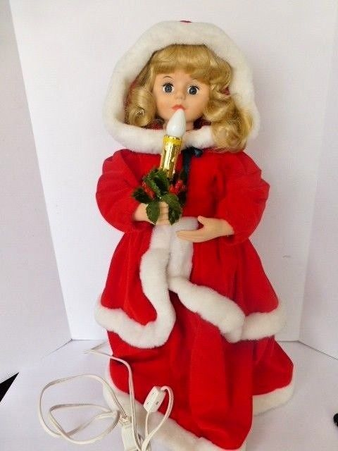 telco motionette victorian christmas girl doll animated lighted - Animated Christmas Dolls