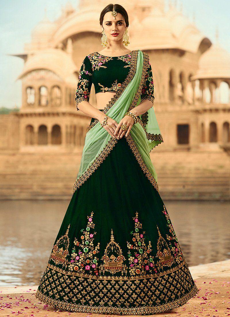 03711d51f0 Dark Green and Light Green Embroidered Velvet Lehenga   Indian wear ...