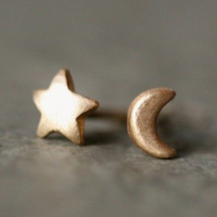 Moon and Star Stud Earrings in 14k Gold by Michelle Chang Jewelry. Swoon...