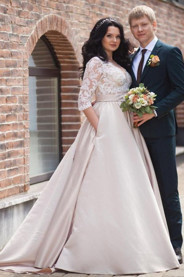V Neck Illusion Long Sleeve A Line Satin Appliqued Plus Size Wedding