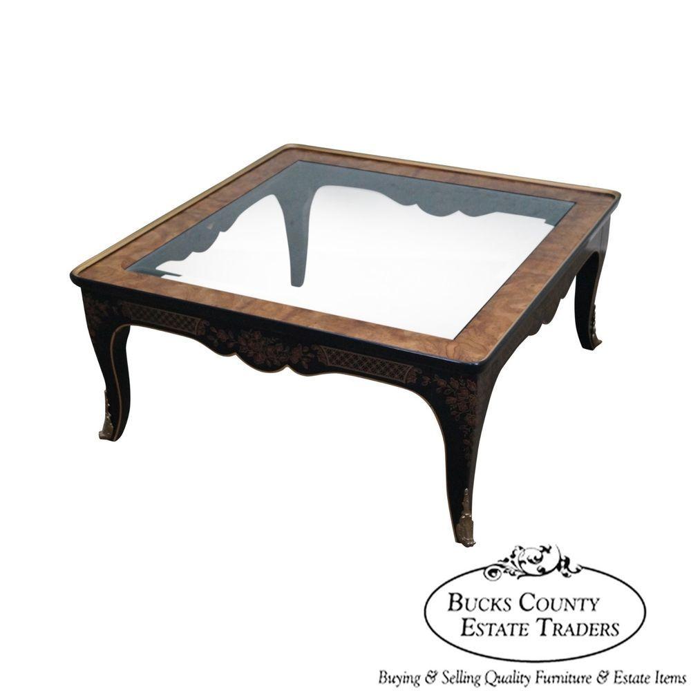 Drexel heritage et cetera black chinoiserie burl wood square drexel heritage et cetera black chinoiserie burl wood square coffee table traditional geotapseo Gallery