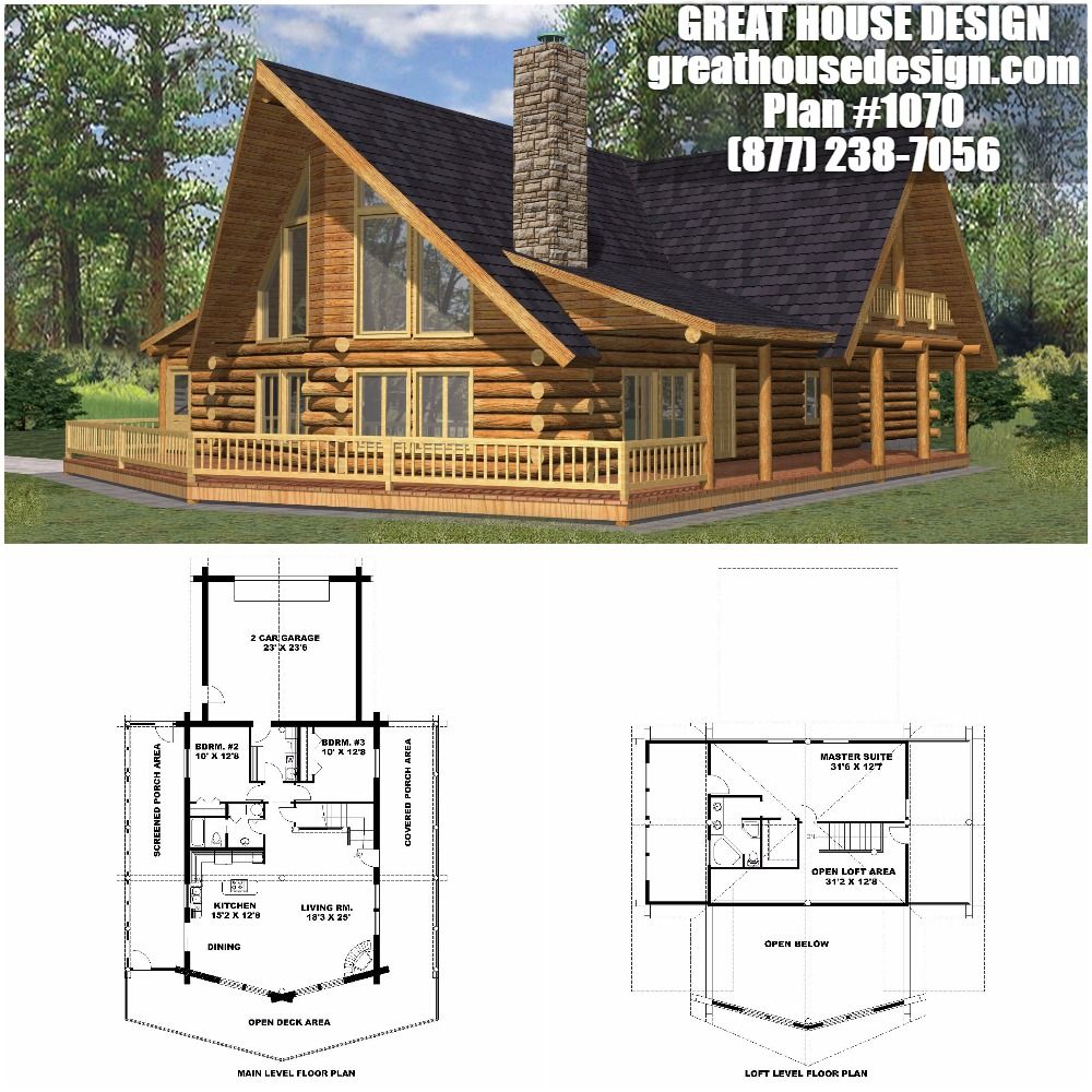 Home Plan 001 1070 Home Plan Great House Design House Plans House Design Log Home Plans