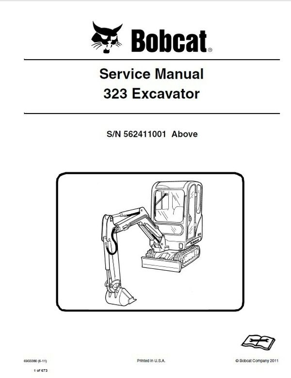 Bobcat 323 Excavator Service Repair Manual Pdf S  N 5624