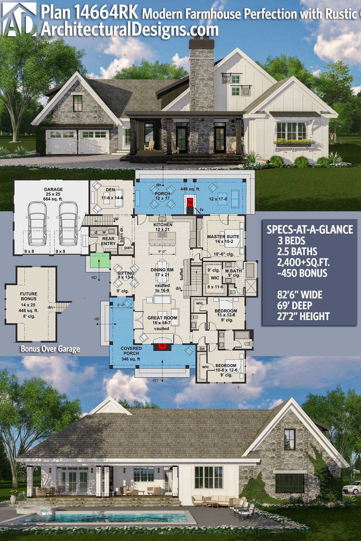 Architectural designs house plan rk gives you br ba and over sq ft of heated living space plus  bonus the garage also rh pinterest