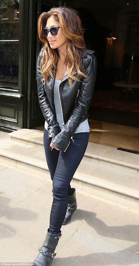 Biker chick Nicole Scherzinger goes shopping in leather-clad outfit