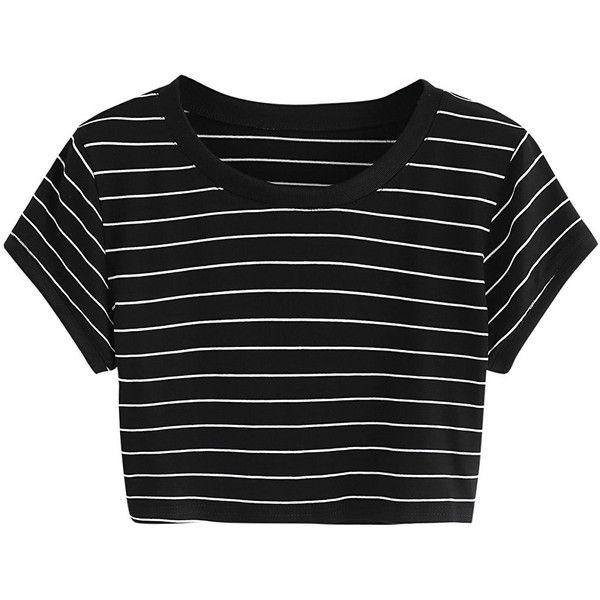68392194781 SweatyRocks Women s Short Sleeve Striped Crop T-Shirt Casual Tee Tops  (€8