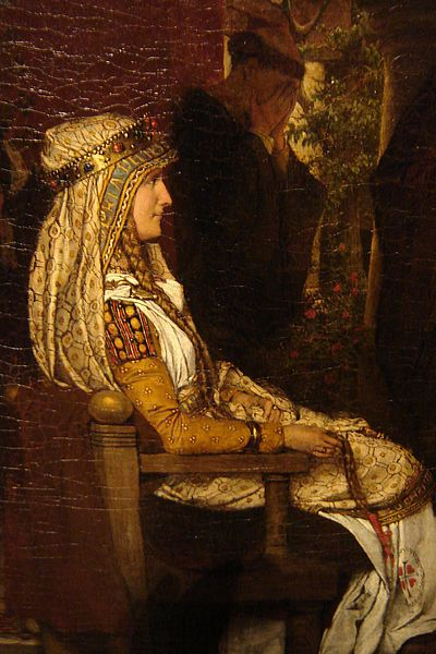 Portrait of the evil Merovingian Queen Fredegund, wife of Chilperic I of Soissons (died 597). By Lawrence Alma-Tadema (detail).