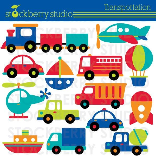 Transportation Clipart Plane Train And By Stockberrystudio 5 00