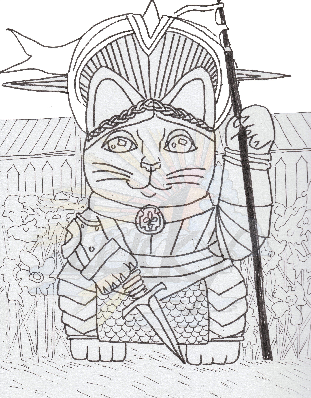 Joan Of Arc Saint Lucky Cat Maneki Neko Coloring Page