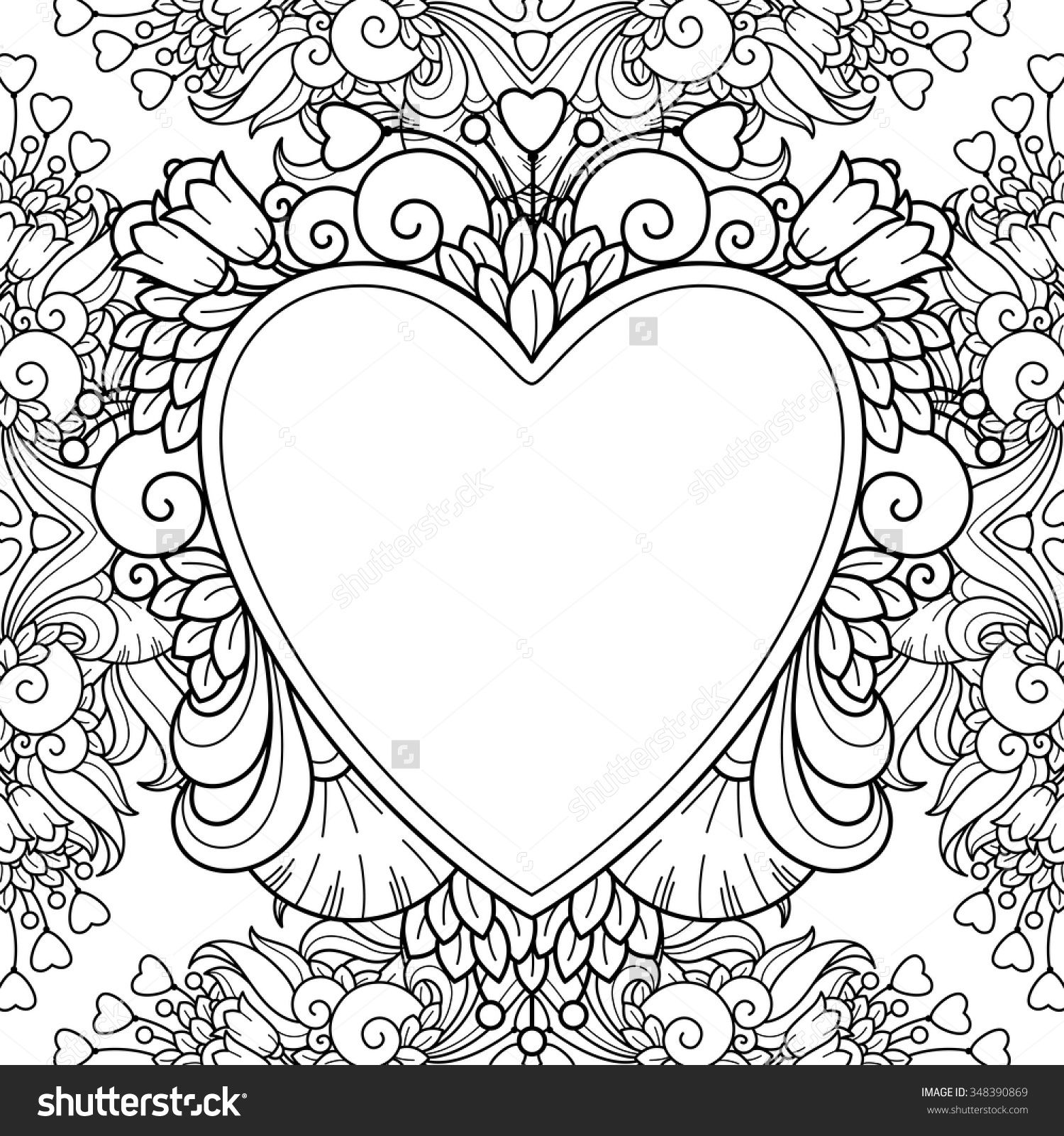 Decorative Love Frame With Hearts Flowers Ornate Elements In Doodle Style Floral Ornate Decorative Love Coloring Pages Love Frames Pattern Coloring Pages