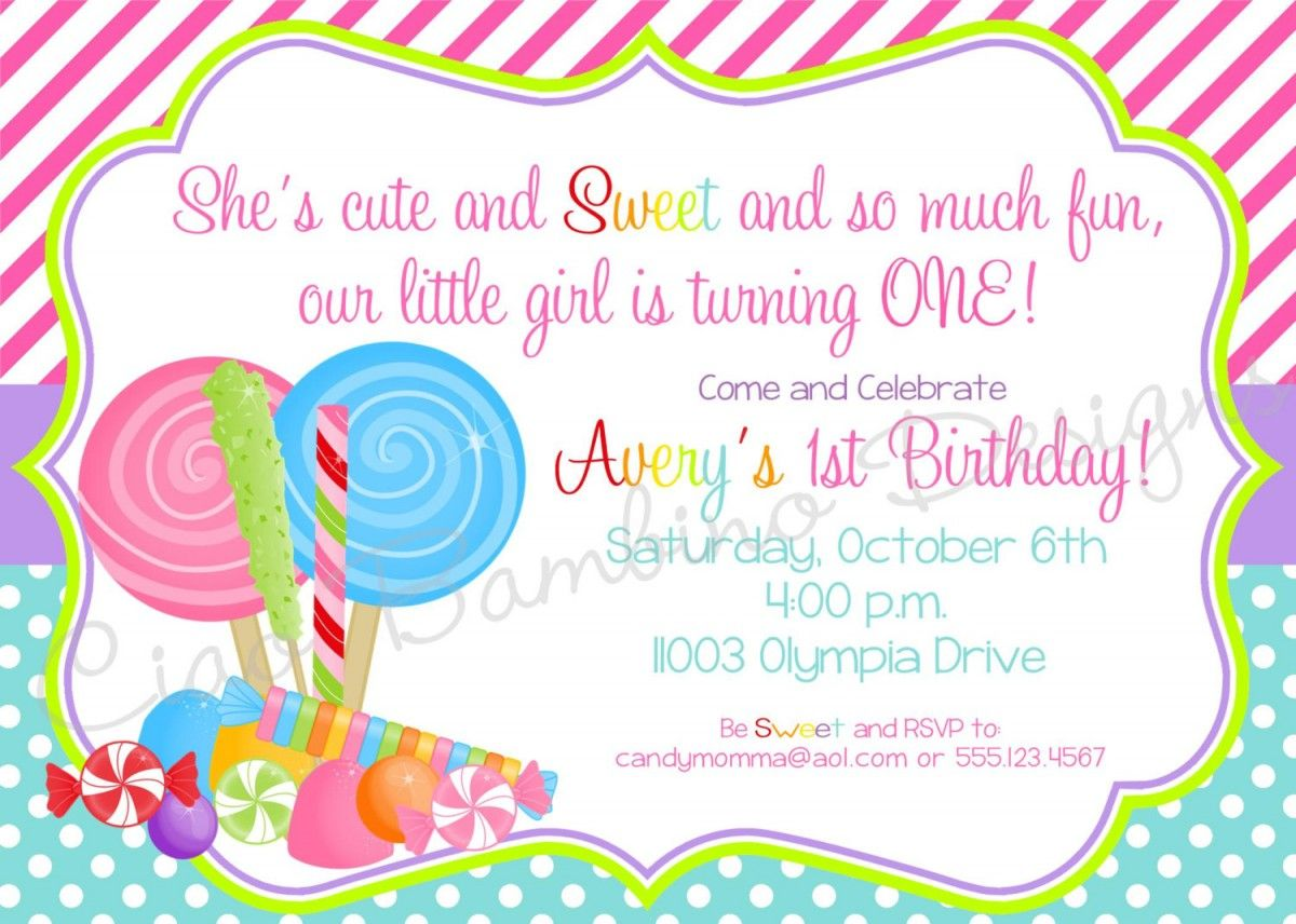 candyland invitations printable | Candyland Lollipop Invitations ...