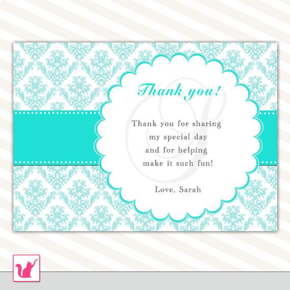 Teal White Thank You Card Turquoise Damask Thank You Note