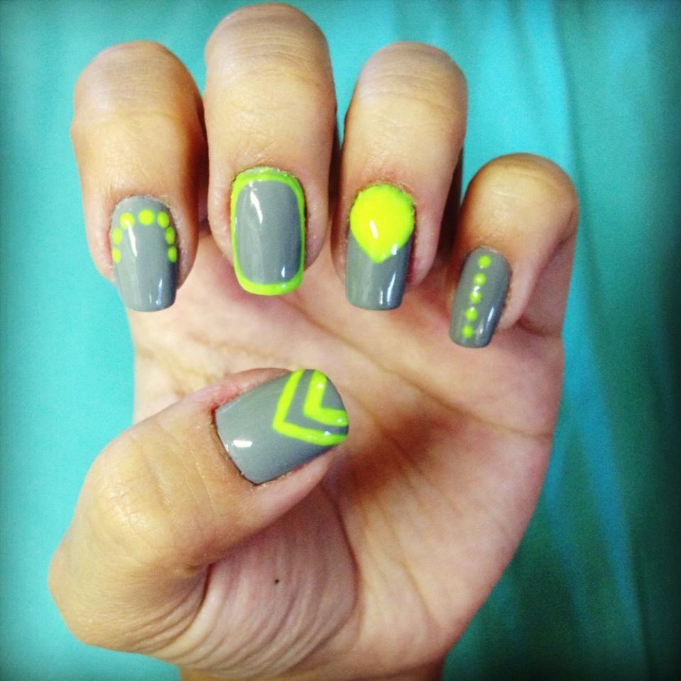 grey and neon yellow nail art | my nail art | Pinterest | Neon ...
