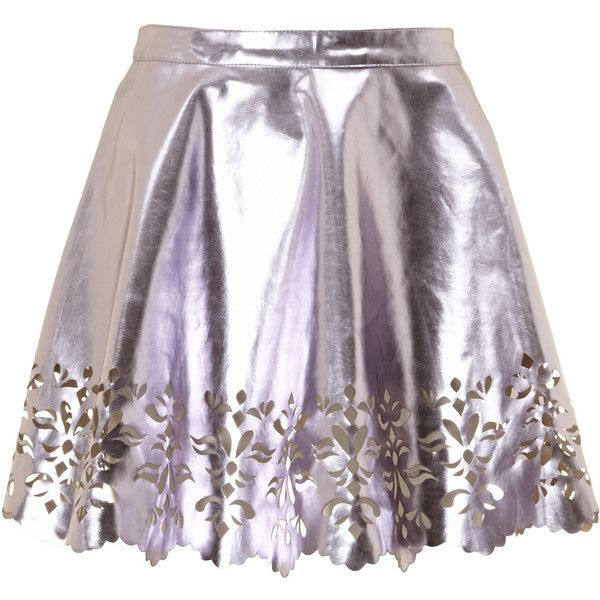 Diffuse Metallic Pink Leather Effect Skirt ($15) ❤ liked on Polyvore featuring skirts, bottoms, metallic, pink skirt, knee length leather skirt, leather skirt, purple skirt and pink leather skirt