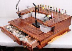 Fly Tying Bench Desk Handmade Rustic Cedar By Flytyingessentials