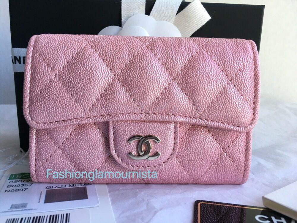 22e8827b Auth BNIB Chanel Iridescent Pink Snap Card Holder Wallet Bag 2019S ...