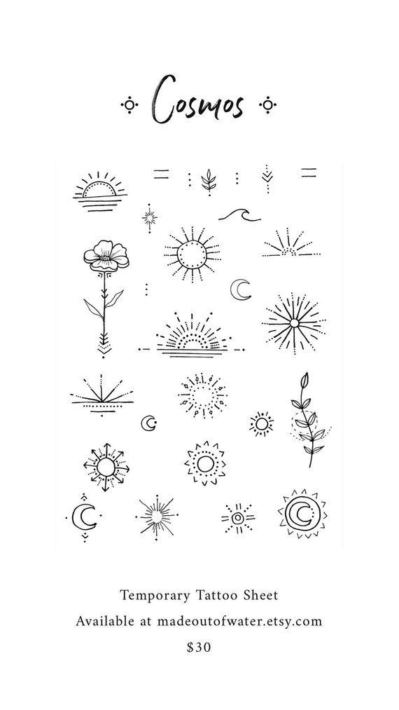 Items similar to Cosmos Temporary Tattoo Sheet on Etsy