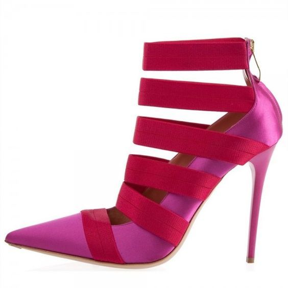 Magenta and Red Satin Straps Stiletto Heels Pumps