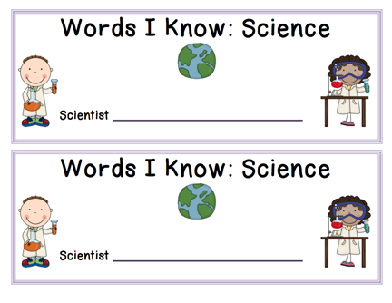 Here's an alphabetical strip booklet for recording science vocabulary over the course of the year or for a particular unit.
