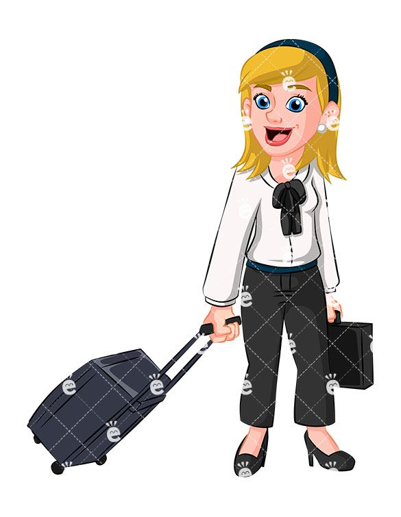 A Woman With Rolling Travel Bag And Briefcase Accountant Accounting Achiever