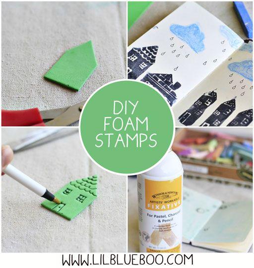 How to make DIY foam stamps via lilblueboo.com