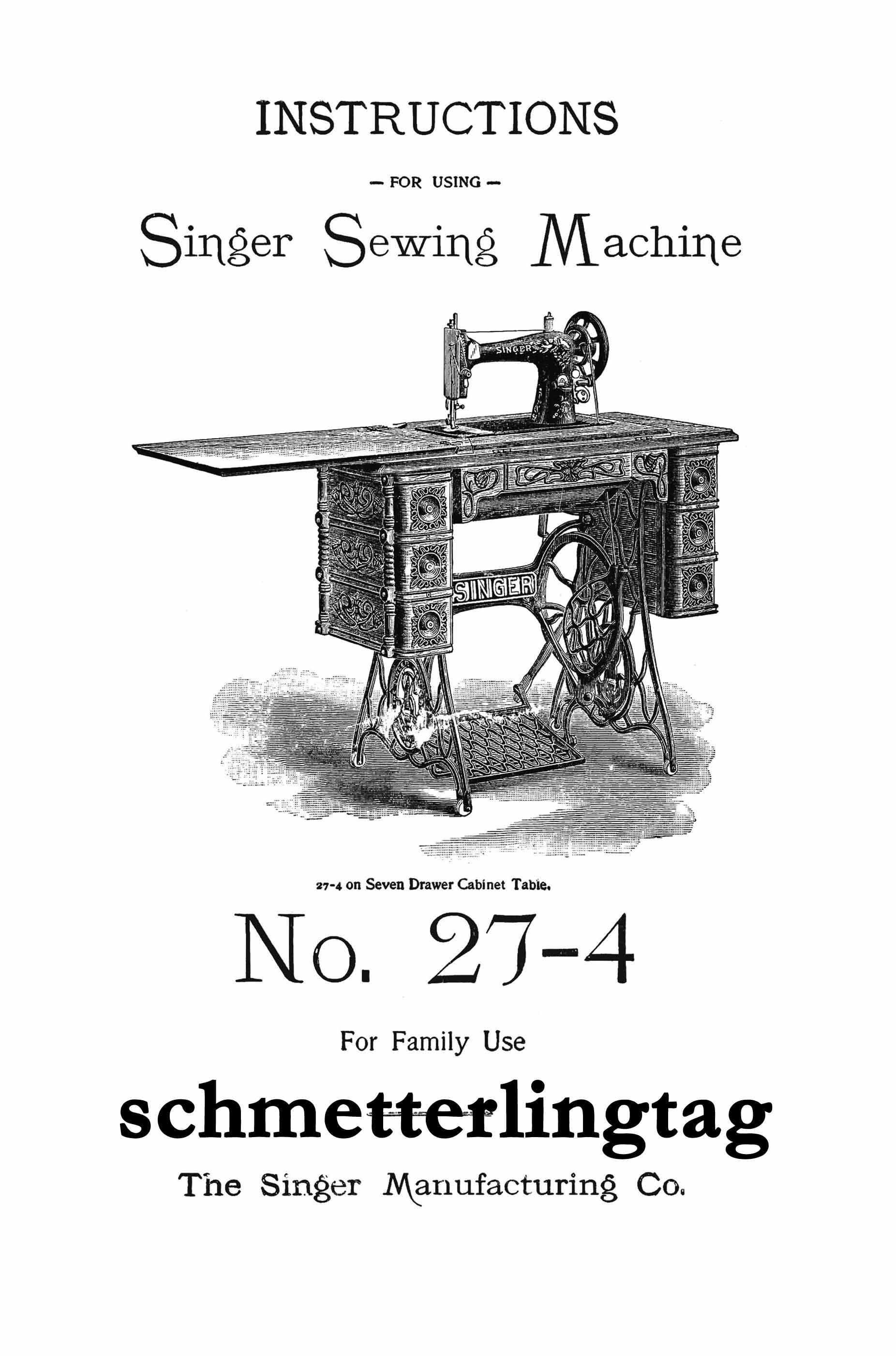 Buy Singer Antique Sewing Machine Manual 27-4 Book 1906 at ...