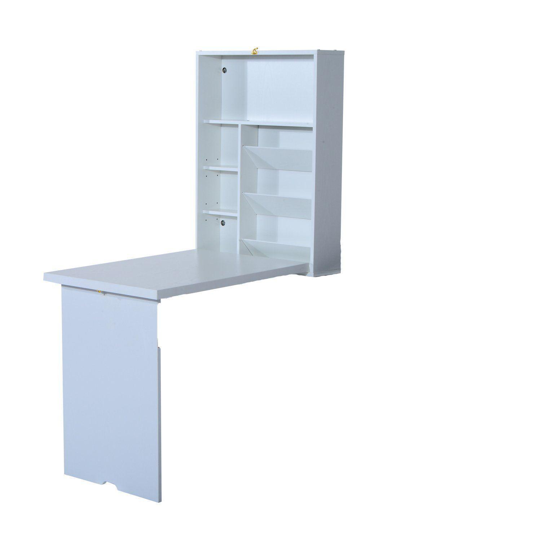 Amazon.com: HomCom Fold Out Convertible Wall Mount Desk - White ...