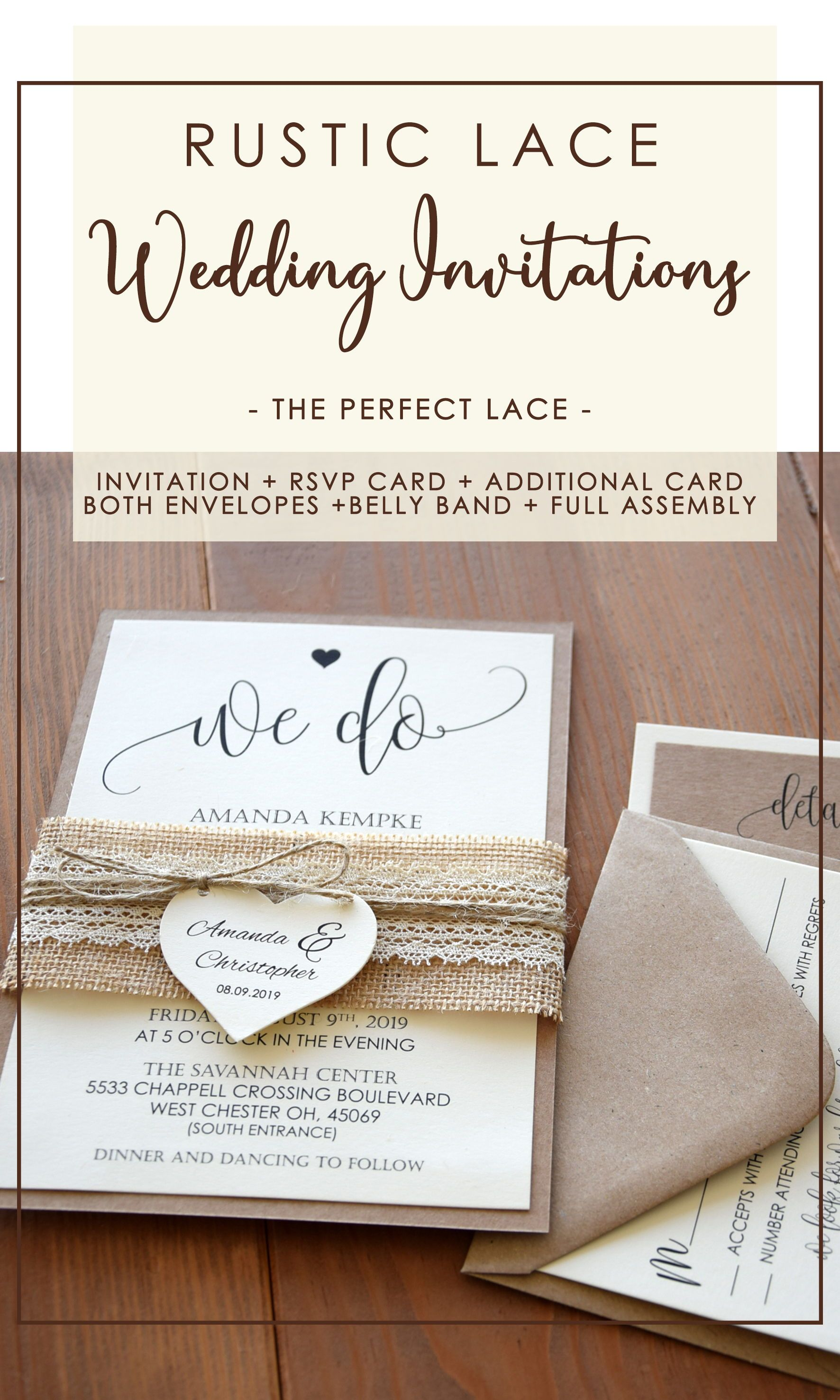 Lace Wedding Invitations Kit Burlap And Lace Marriage Invitations In 2020 Wedding Invitation Kits Invitation Kits Rustic Wedding Stationery
