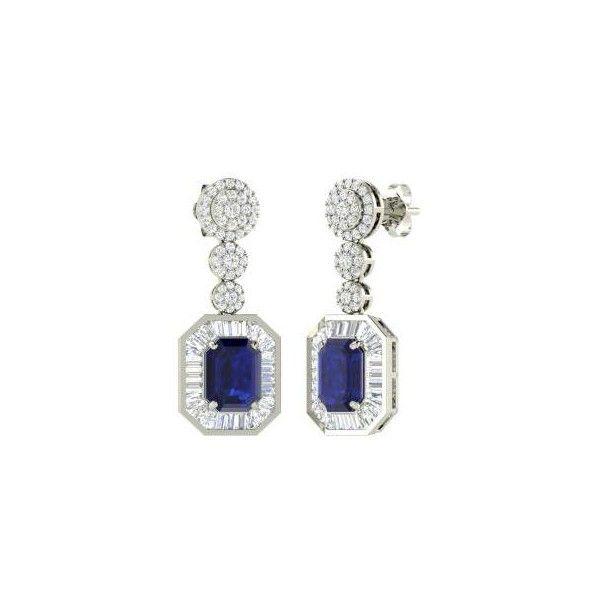 Jonetta ($6,500) ❤ liked on Polyvore featuring jewelry, earrings, diamondere, sapphire earring, emerald cut earrings, 14 karat gold earrings, 14k earrings, earrings jewelry and 14k jewelry