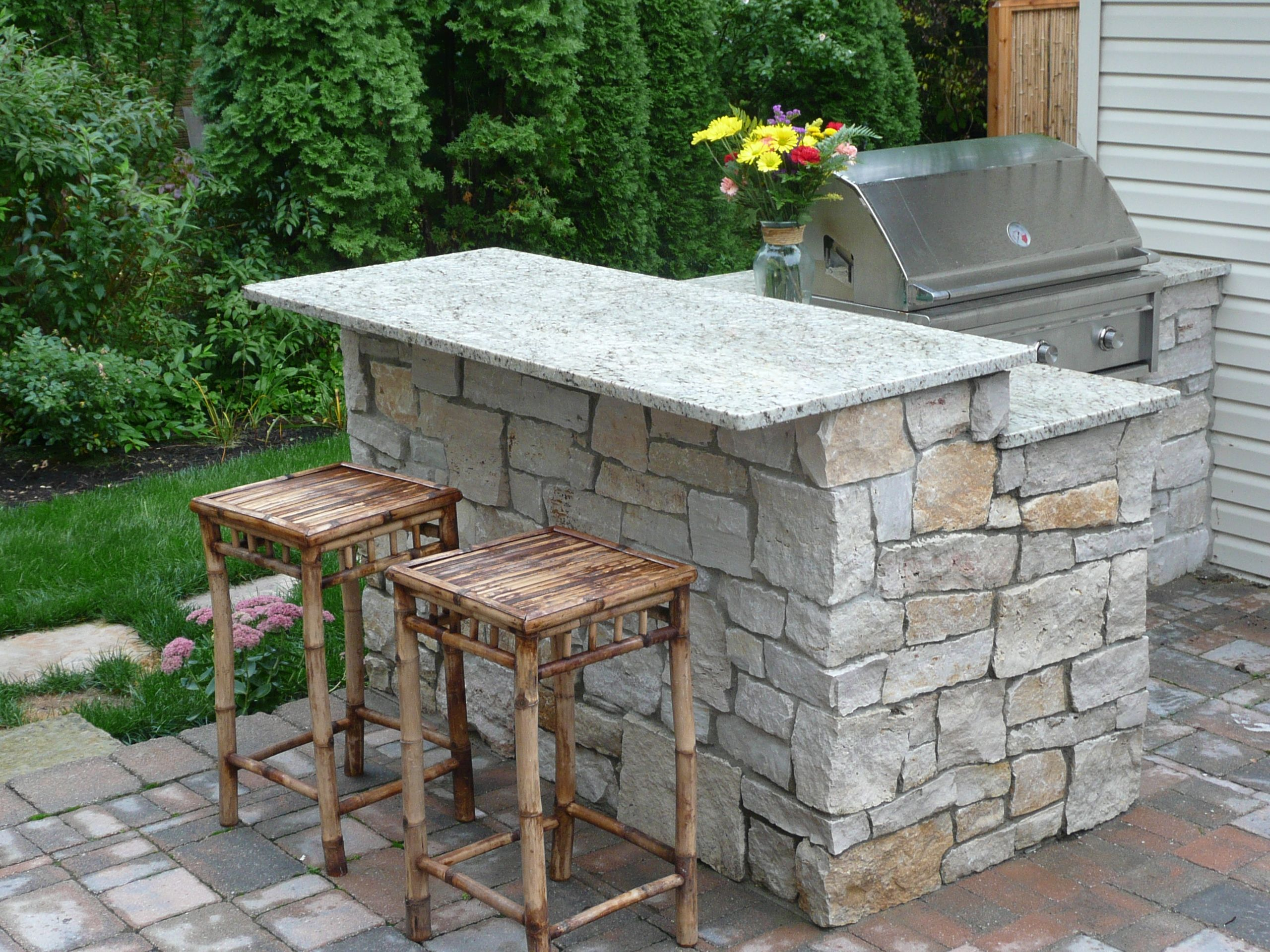 Natural Stone Bbq Stand And Cooking Area, Pull Up A