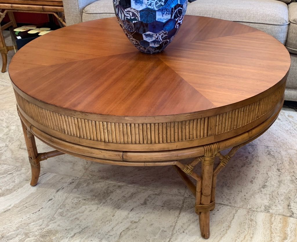 Tommy Bahama Style Coffee Table Round With Rattan Ate And Legs With A Stripe Of Thin Reeds All Around Full Grain W Wicker Coffee Table Furniture Coffee Table [ 834 x 1024 Pixel ]