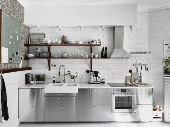 Cocina de acero inoxidable | APARTMENT INTERIORS | Cocinas ...