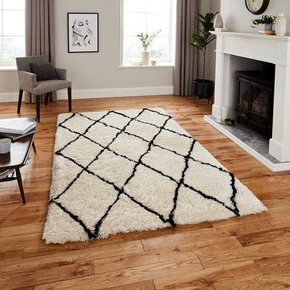 Moroccan Rug Black White Geometric Rug Large Shaggy Carpet Boho Rug Moroccan Kilim Large Area Mat In 2020 Geometric Rug White Rug Grey Rugs